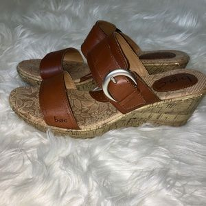 BOC double strap tan leather strap wedge size 10